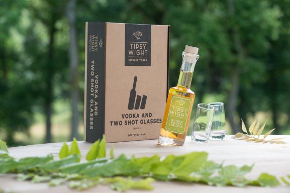 Quince Vodka Liqueur & Two Shot Glasses Image