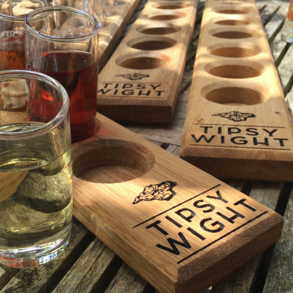 Times Six Shot Glasses & Oak Serving Paddle Image