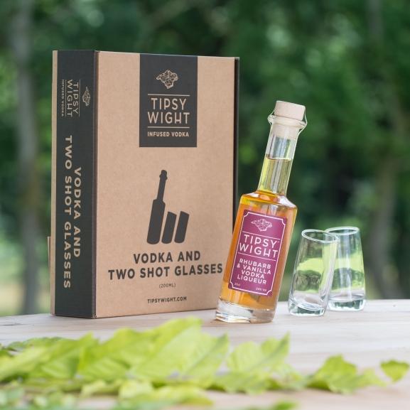 Rhubarb & Vanilla Vodka Liqueur & Two Shot Glasses Image