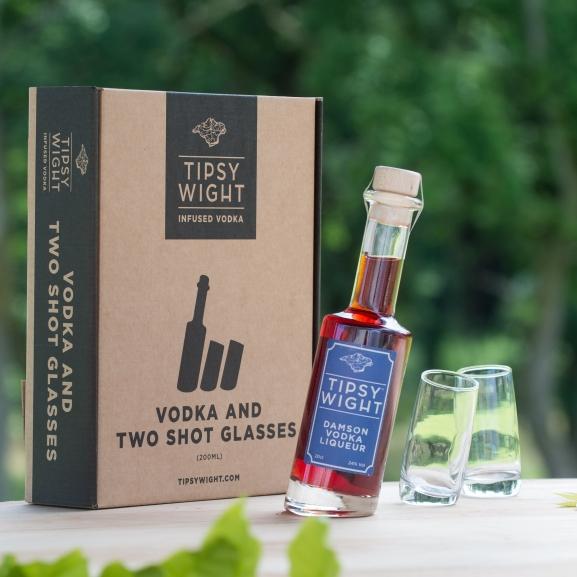 Damson Vodka Liqueur & Two Shot Glasses Image