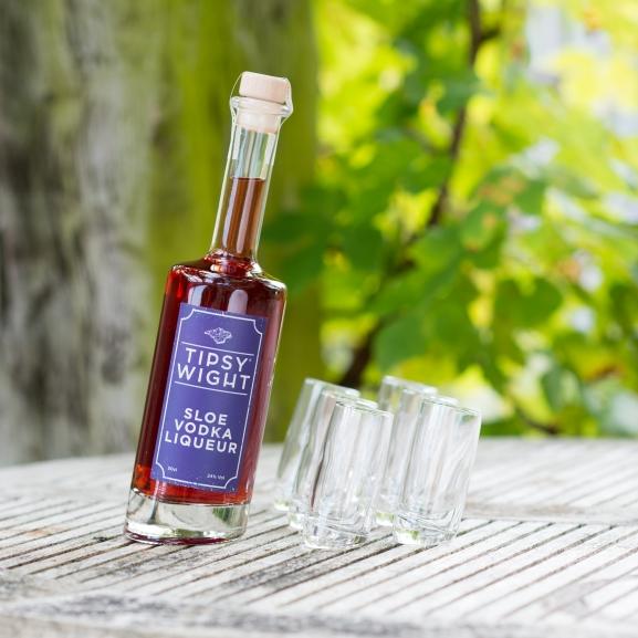 Sloe Vodka Liqueur & Six Tipsy Shot Glasses Image