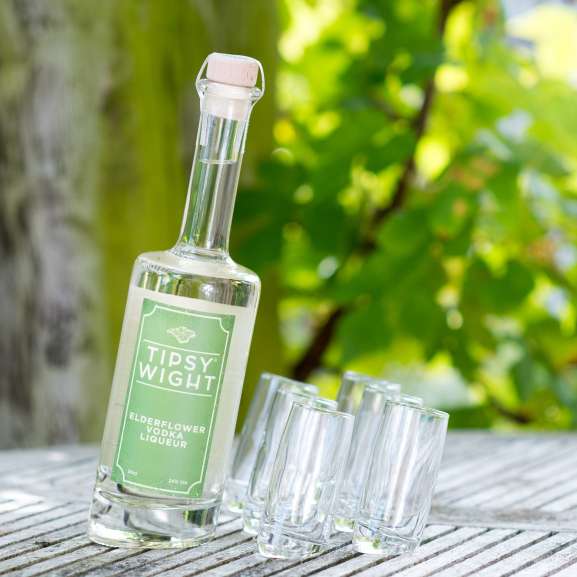 Elderflower Vodka Liqueur & Six Tipsy Shot Glasses Image